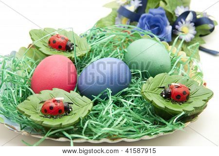 Eastereggs with Flower in Easter Basket