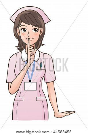 Cute Nurse Posing To Ask  Silence