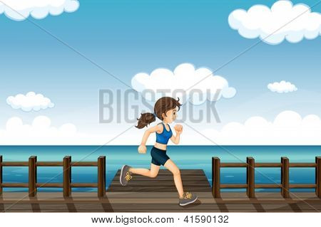 Illustration of a young woman jogging in the seaside