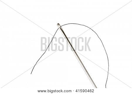 Needle and thread, isolated on white