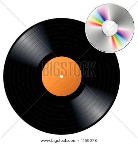 Vector Vinyl Record With Cd