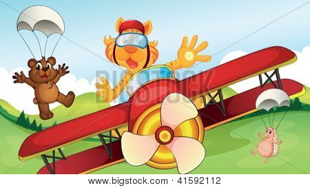 Illustration of an airplane drove by an animal