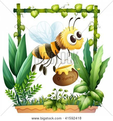 Illustration of a bee in the garden with a honey on a white background
