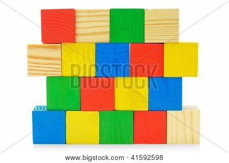 Colourful Wall From Toys Wooden Cubes