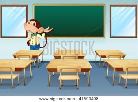 Abbildung eines Affen-Lehrers diskutieren in einem leeren Raum