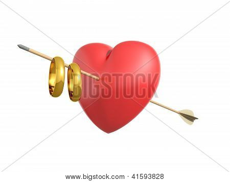 Render Of A Smitten Heart With Wedding Rings