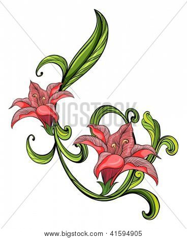 Illustration of a pink and green border on a white background
