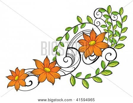 Illustration of a border made of vine flowers on a white background