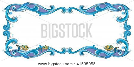 Illustration of a border with fish on a white background