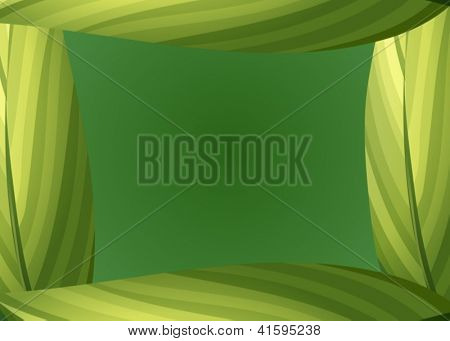 Illustration of a green leafy border on a green background