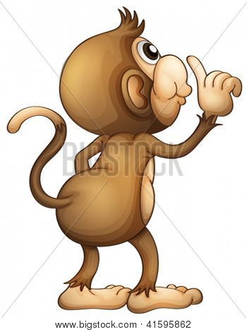 Illustration of a monkey's back on a white background