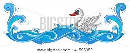 Illustration of a border with a swan on a white background