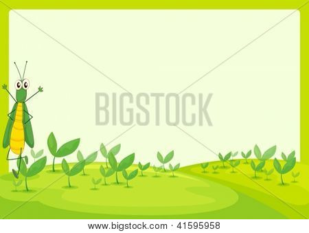 Illustration of a grasshopper in a beautiful nature