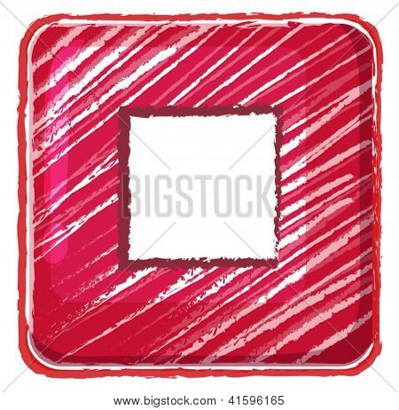 Illustration of a stop button icon drawing on a white background