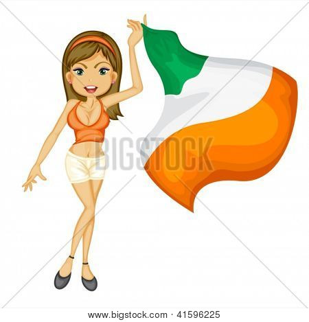 Illustration of a smiling girl with a national flag of Ireland on a white background