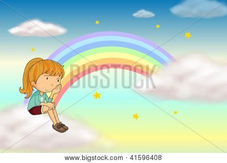 Illustration of a sitting girl and a rainbow in a sky