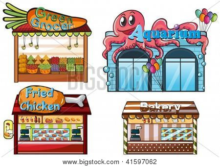 Illustration of a fruitstand, an aquarium, a food stall and a bakery on a white background