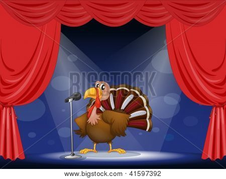 Illustration of a turkey in the center of a stage