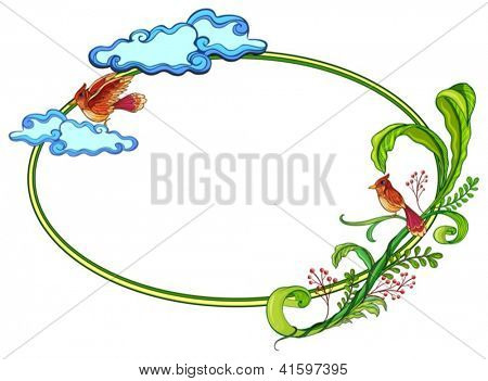 Illustration of a round border with two birds on a white background
