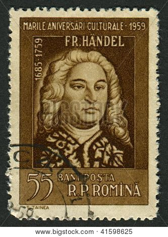 ROMANIA - CIRCA 1959: Postage stamps printed in Romania dedicated to George Frideric Handel (1685-1759),  German-born British composer, circa 1959.