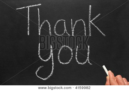 Writing Thank You On A Blackboard.