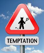 stock photo of satan  - temptation resist from devil lose bad habits by self control road sign with text - JPG