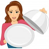 stock photo of clip-art staff  - Illustration of a Woman Holding an Empty Dish Cover and Serving Plate - JPG