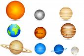 picture of earth mars jupiter saturn uranus  - illustration of set of planets with sun and moon - JPG