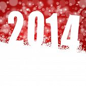 2014 new years illustration with snowflakes on red background
