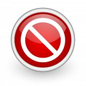 access denied red circle web icon on white background