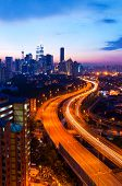 stock photo of klcc  - Scenery of sunset and busy highway at Kuala Lumpur - JPG