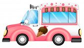 stock photo of ice-cream truck  - Illustration of an ice cream car on a white background - JPG