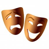 stock photo of comedy  - Vector illustration of comedy and tragedy masks - JPG