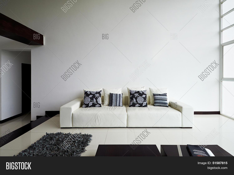 Interieur ontwerp serie: moderne woonkamer met grote lege witte ...