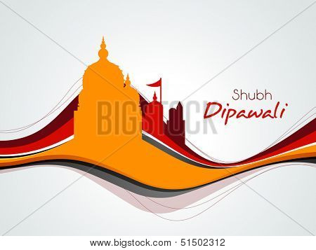 Subh Deepawali (Happy Diwali) Indian festival celebration background with silhouette of temples on colorful waves.