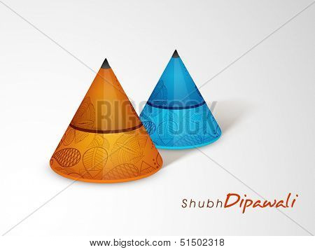 Colorful firecrackers on grey background for Subh Deepawali (Happy Deepawali) festival celebration.