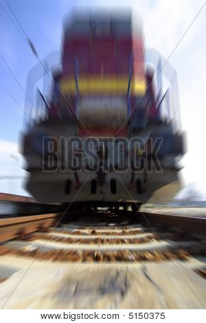Fast Moving Old Stale Freight Diesel Locomotive