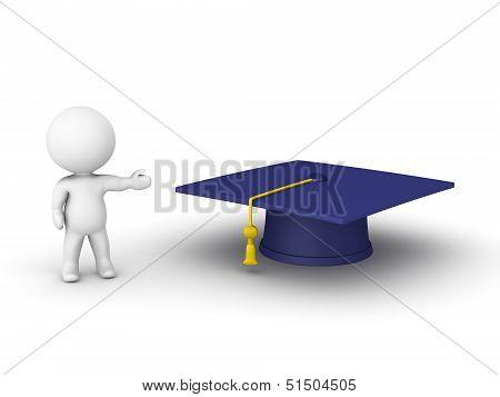 3D man showing graduation hat