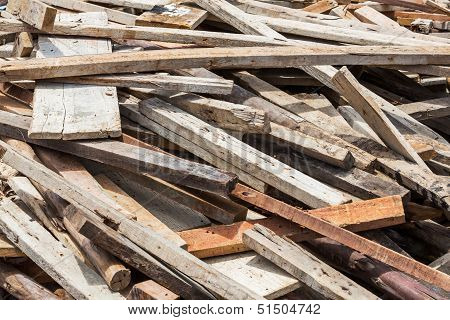 Old Lumber In Construction Site