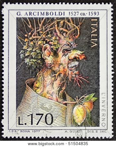 ITALY - CIRCA 1977: a stamp printed in Italy shows painting of Giuseppe Arcimboldo (ca. 1527 - 1593), famous Italian painter. Italy, circa 1977