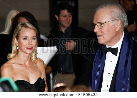 NEW YORK-SEP 27: Actress Naomi Watts and Charles Grodin are seen filming