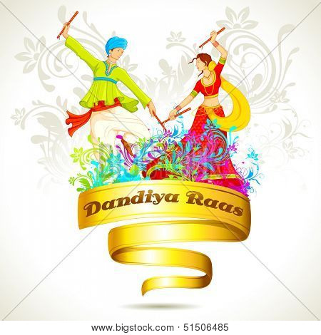 illustration of couple playing dandiya on Navratri