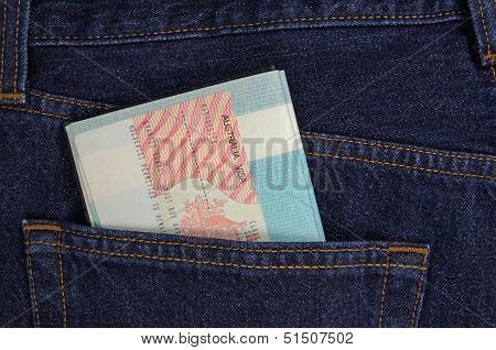 australian visa in a pocket