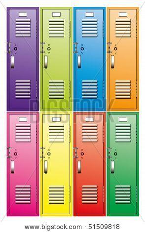 Vector Set Of  Metal School Lockers