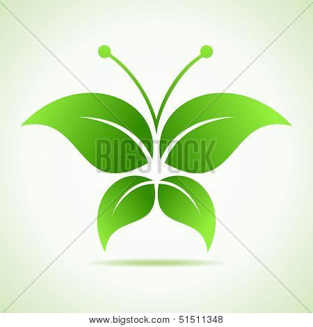 Green eco  decorative butterfly - stock vector