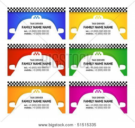 Business card taxi color set