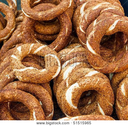 Turkish Bagel, Also Known As Simit. It Is A Circular Bread With Sesame Seeds.