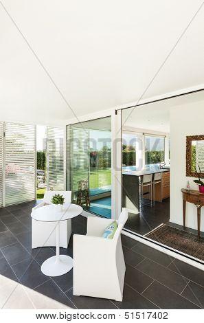 Modern villa, interior, view from the veranda