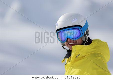 Ski, skier, winter sports - portrait of female skier