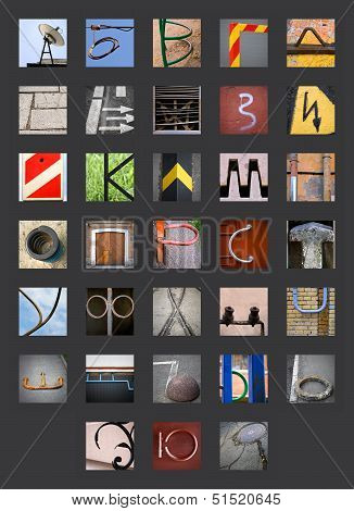 Uncommon Abstract Urban Fragments With Full Cyrillic Russian Alphabet